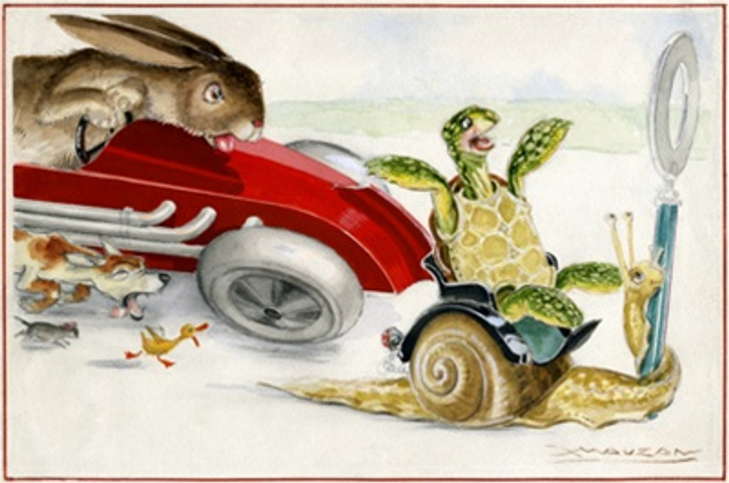 Fables de la Fontaine by Mauzan 1940 France - Vintage Poster Reproductions. This horizontal transportation poster features a tortoise riding a snail being chased by a duck, dog, mouse and rabbit in a red car. Giclee Advertising Print. Classic Posters
