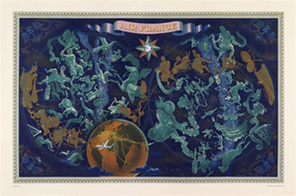 Air France Planisphere (Zodiac) by Boucher 1954 France - Beautiful Vintage Posters Reproductions. Horizontal French travel poster features a astrological map in two spheres showing figures from constellation mythology. Giclee Advertising Print.