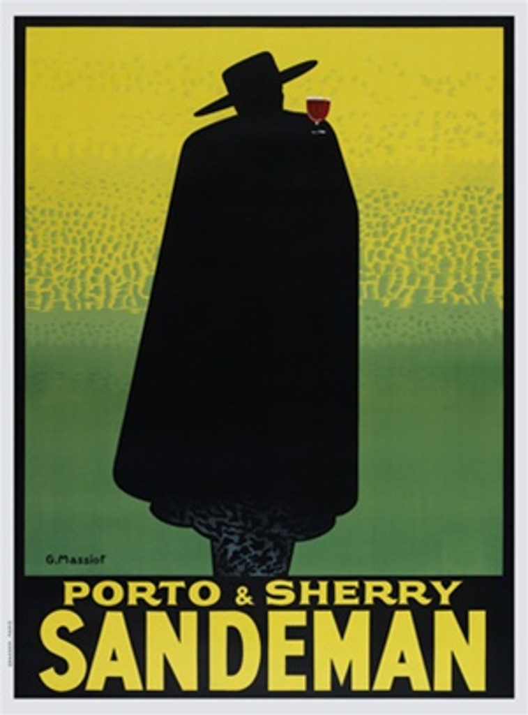 Sandeman Porto and Sherry by G. Massiot 1931 France - Vintage Poster Reproductions. French wine port sherry poster features a silouette of a man in a black cape and hat hoding a glass of port on a yellow green. Giclee Advertising Print. Classic Poster