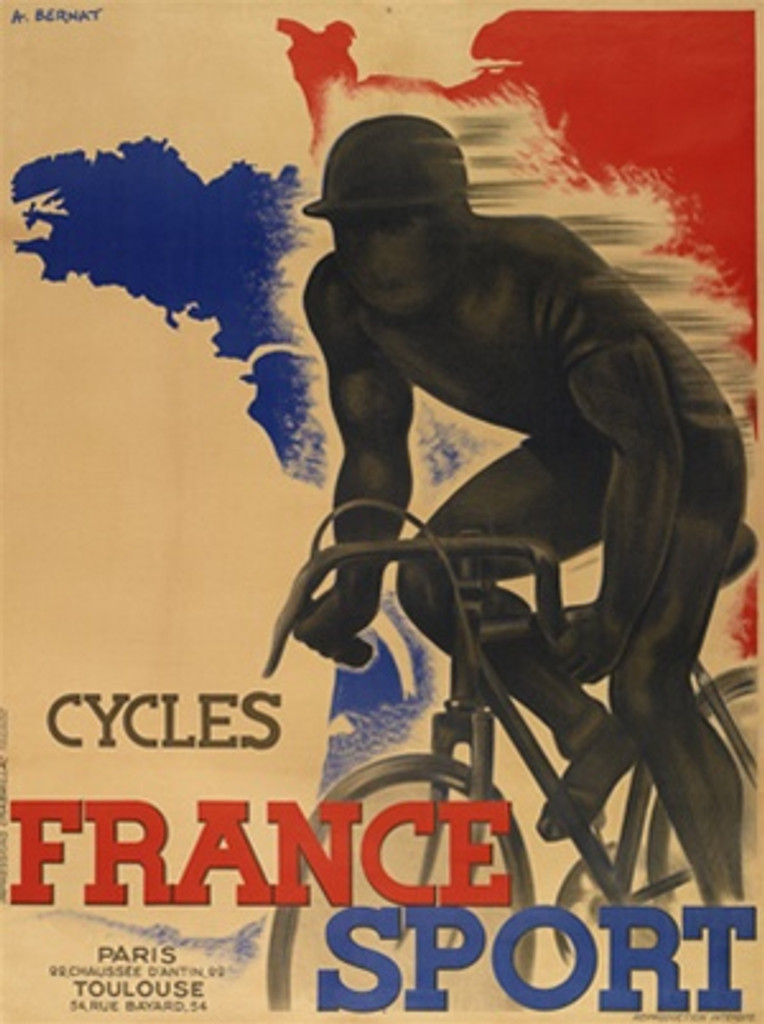 Cycles France Sport by A. Bernat 1920 France - Vintage Poster Reproductions. This French transportation poster features a shadowy cyclist racing past a background with a blue and red France against off white. Giclee Advertising Print. Classic Posters