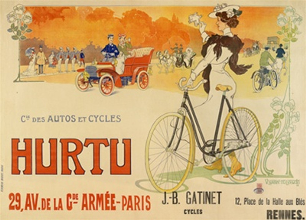 Hurtu Autos et Cycles by V. Lorent Heilbrown 1903 France - Vintage Poster Reproductions. This horizontal French transportation poster features a woman standing next to a bike waving at a car against the sunset. Giclee Advertising Print. Classic Posters