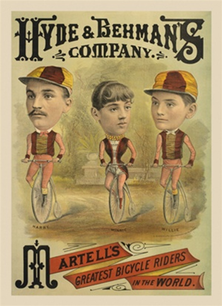 Hyde and Behmans 1905 France - Beautiful Vintage Poster Reproductions. This vertical French transportation poster features a woman and 2 men performers in costume with giant heads on bicycles. Giclee Advertising Print. Classic Posters