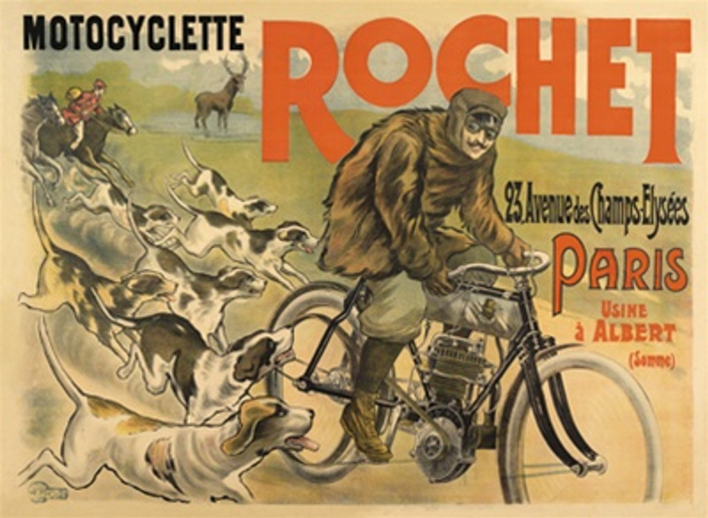 Motocyclette Rochet by Affiches Kossuth and Cie 1904 France - Vintage Poster Reproductions. This horizontal French poster features a man on a motorcycle with dogs chasing him and horses and deer in the background. Giclee Advertising Print. Classic Poster