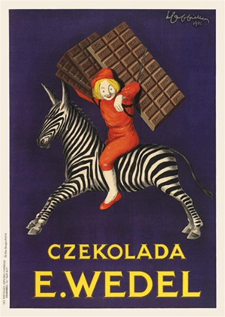 Czekolada E. Wedel by Cappiello 1926 France - Vintage Poster Reproductions. This French poster features a boy in red suit and hat riding on a zebra carrying chocolate bars on his back on a purple background. Giclee Advertising Print. Classic Posters