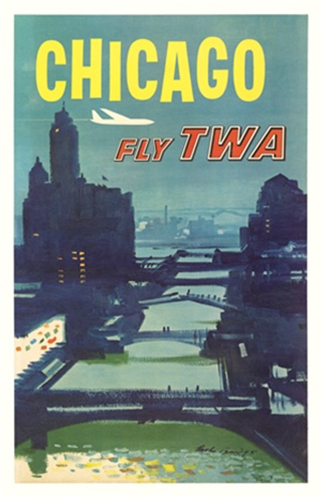 Chicago Fly TWA by Austin Briggs 1955 America - Vintage Poster Reproductions. This American travel poster features an night view of the River with bridges and skyscrapers on the sides as a plane flies over. Giclee Advertising Print. Classic Posters