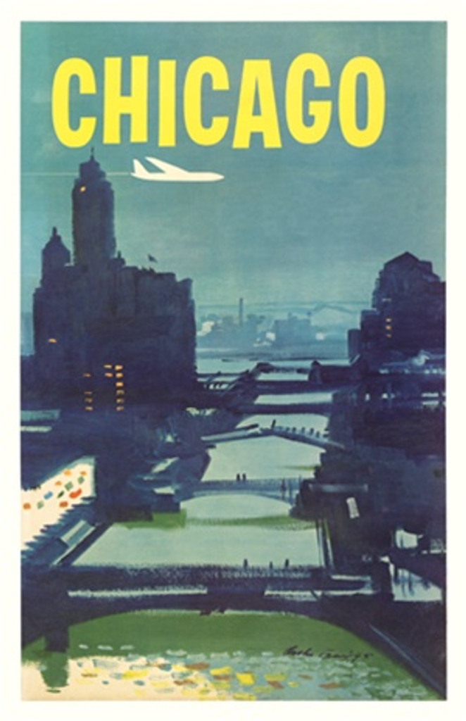 Chicago by A. Briggs 1955 America USA - Vintage Poster Reproductions. This American travel poster features an night view of the Chicago River with bridges and skyscrapers on the sides as a plane flies over. Giclee Advertising Print. Classic Posters