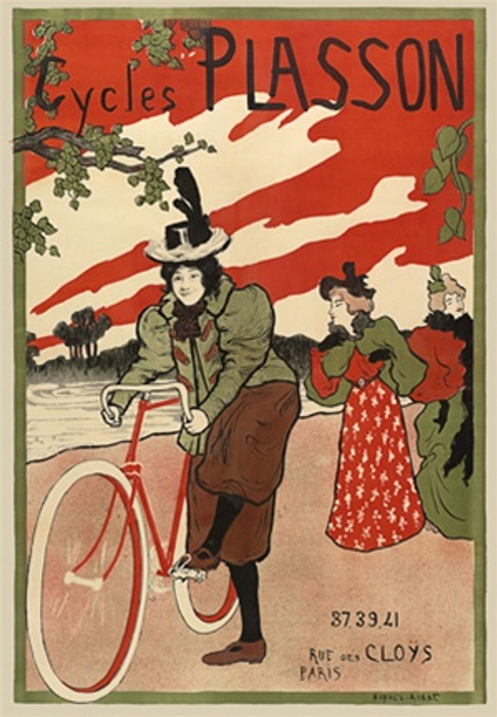 Cycles Plasson by Manuel Robbe 1897 France - Beautiful Vintage Poster Reproductions. This vertical French transportation poster features a woman hopping on a bike with other women in background against a red sky. Giclee Advertising Print. Classic Posters