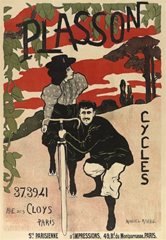 Cycles Plasson by Manuel Robbe 1897 France - Beautiful Vintage Poster Reproductions. This vertical French transportation poster features a woman on a bike and a man holding and pushing the cycle for her. Giclee Advertising Print. Classic Posters