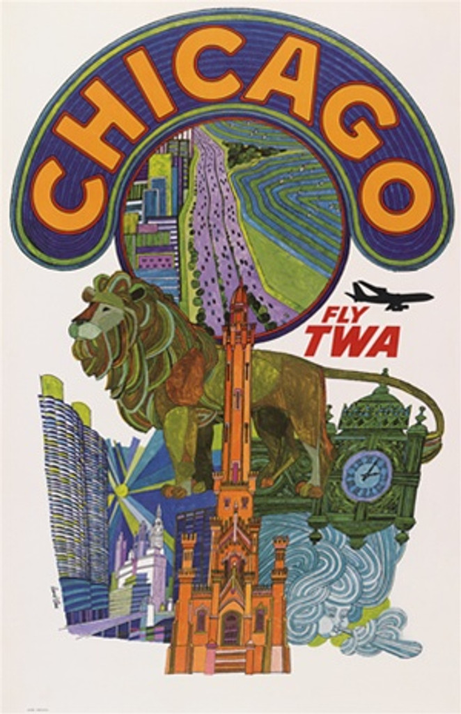 Chicago Fly TWA by David Klein 1960 America - Vintage Poster Reproductions. This American travel poster features a collage of landmarks such as the water tower, marina towers, lake shore drive, lions and more. Giclee Advertising Print. Classic Posters