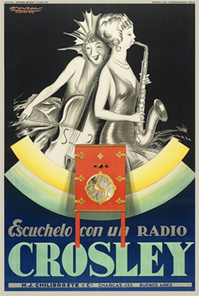 Crosley Radio by Mauzan 1929 French - Beautiful Vintage Poster Reproductions. This vertical French product poster features women playing saxophone and cello advertising a radio company in an Art Deco style. Giclee Advertising Print. Classic Posters