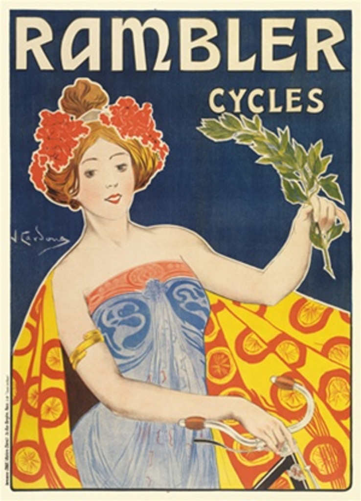 Cycles Rambler by Juan Cordona 1901 French - Beautiful Vintage Poster Reproductions. This vertical French transportation poster features a woman on a bike with a cape, holding a branch and flowers in her hair. Giclee Advertising Print. Classic Posters