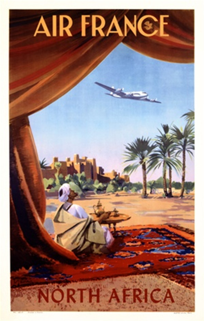 Air France North Africa by Guerre 1952 France - Vintage Poster Reproductions. This French travel poster features a man in a turban sitting on a rug by a table with a teapot looking at a plane flying overhead. Giclee Advertising Print. Classic Posters