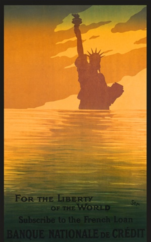 For The Liberty of the World by Sem 1918 France - Beautiful Vintage Poster Reproductions. French product poster features the top of the statue of liberty in silhouette across an ocean at sunset. Giclee Advertising Print. Classic Posters