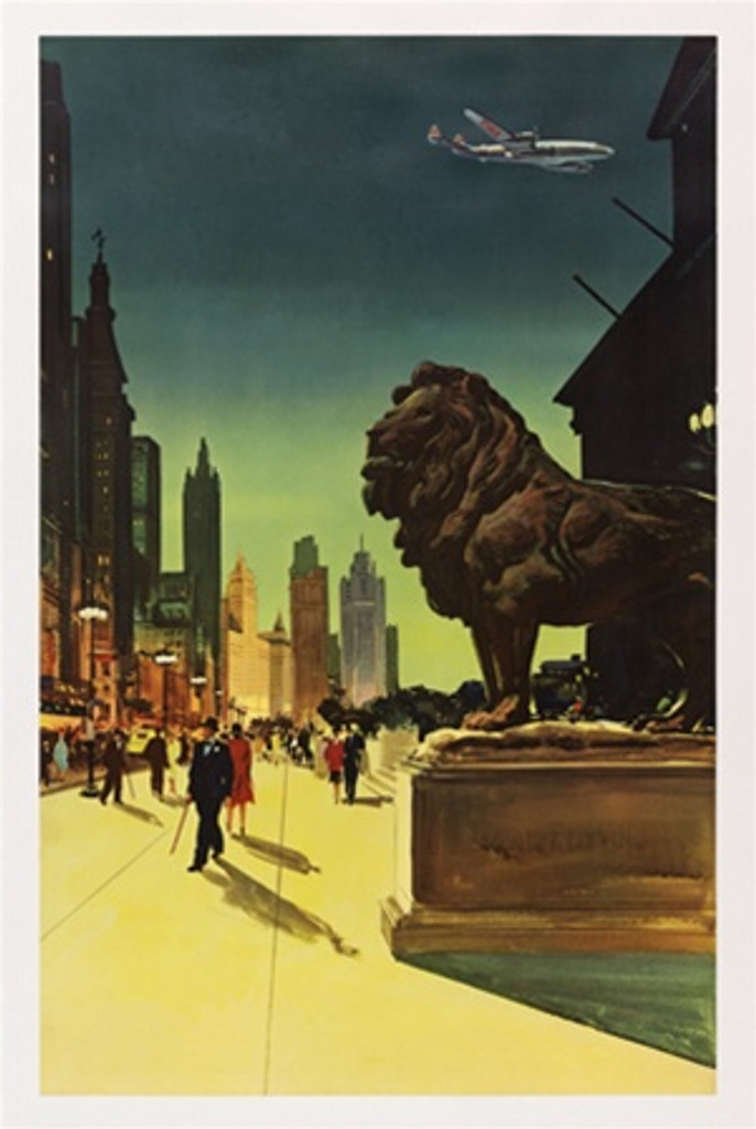 Chicago fly TWA (proof) 1958 America USA - Vintage Poster Reproductions. This vertical American travel poster features the Art Institute lion on Michigan Avenue lined with skyscrapers and a plane flying overhead. Giclee Advertising Print. Classic Posters