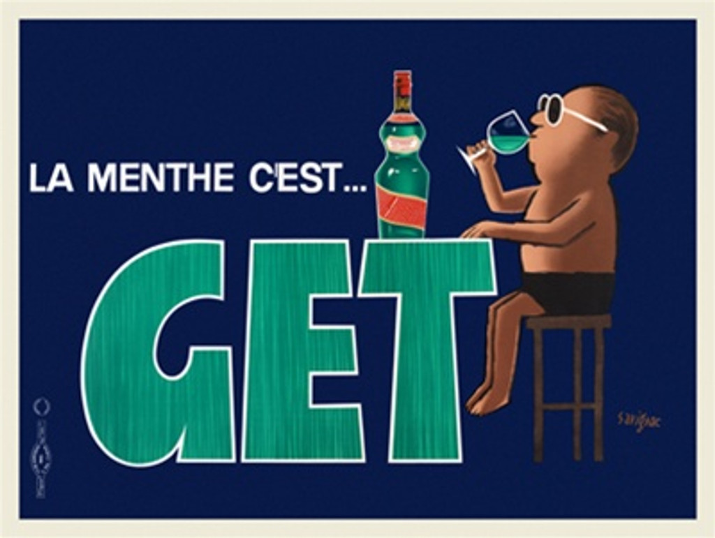 Get La Menthe Cest Peppermint by Savignac 1948 French - Vintage Poster Reproductions. This horizontal French wine and spirits poster features a man drinking in shorts sitting on a stool at a table with a bottle. Giclee Advertising Print. Classic Posters