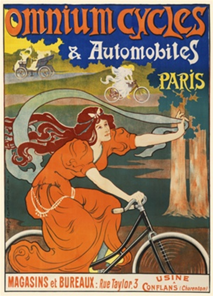 Omnium Cycles and Automobiles Paris 1897 French - Vintage Poster Reproductions. This French poster features a woman in an orange dress riding a bike through the forest holding up a ribbon to fly in the wind. Giclee Advertising Print. Classic Posters