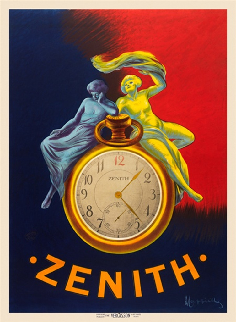 Zenith poster by Leonetto Cappiello - Beautiful Vintage Posters Reproductions. Zenith pocket watch is the central element and the figures that frame it symbolize night and day. Giclee Advertising Print