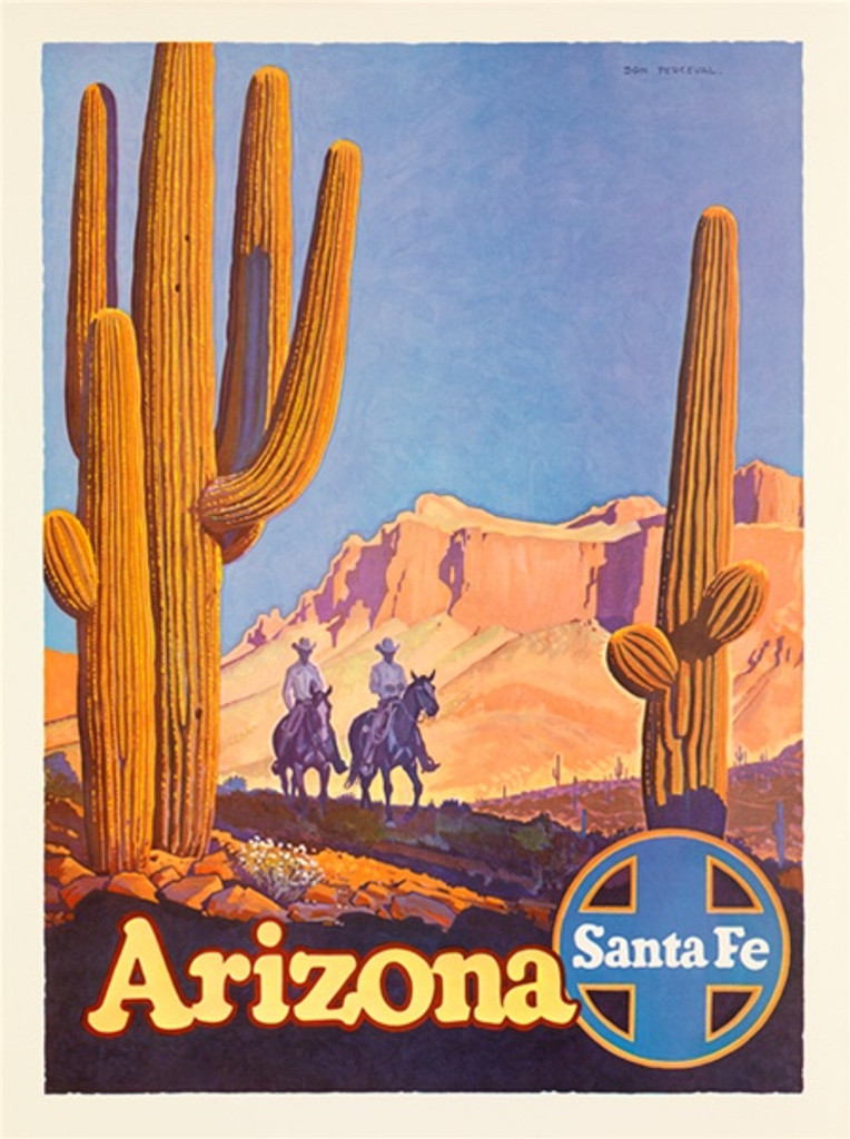 Santa Fe Railroad Arizona American travel poster - Vintage Travel Posters Reproduction. Vintage railroad travel poster from 1949 by Don Perceval American Posters. Giclee Advertising Print. Posters of Santa Fe. Classic Posters