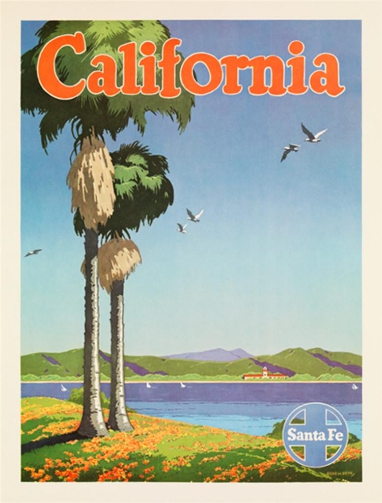 Santa Fe Railroad California American travel poster - Vintage Travel Posters Reproduction. Vintage railroad travel poster from 1949 American Posters. Giclee Advertising Prints. Posters of Santa Fe.