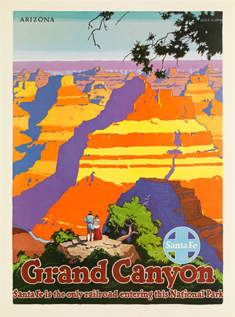 Santa Fe Railroad Grand Canyon American travel poster - Vintage Travel Posters Reproduction. Vintage railroad travel poster from 1949 by O. M. Bryn American Posters. Giclee Advertising Print. Posters of Santa Fe. Classic Posters