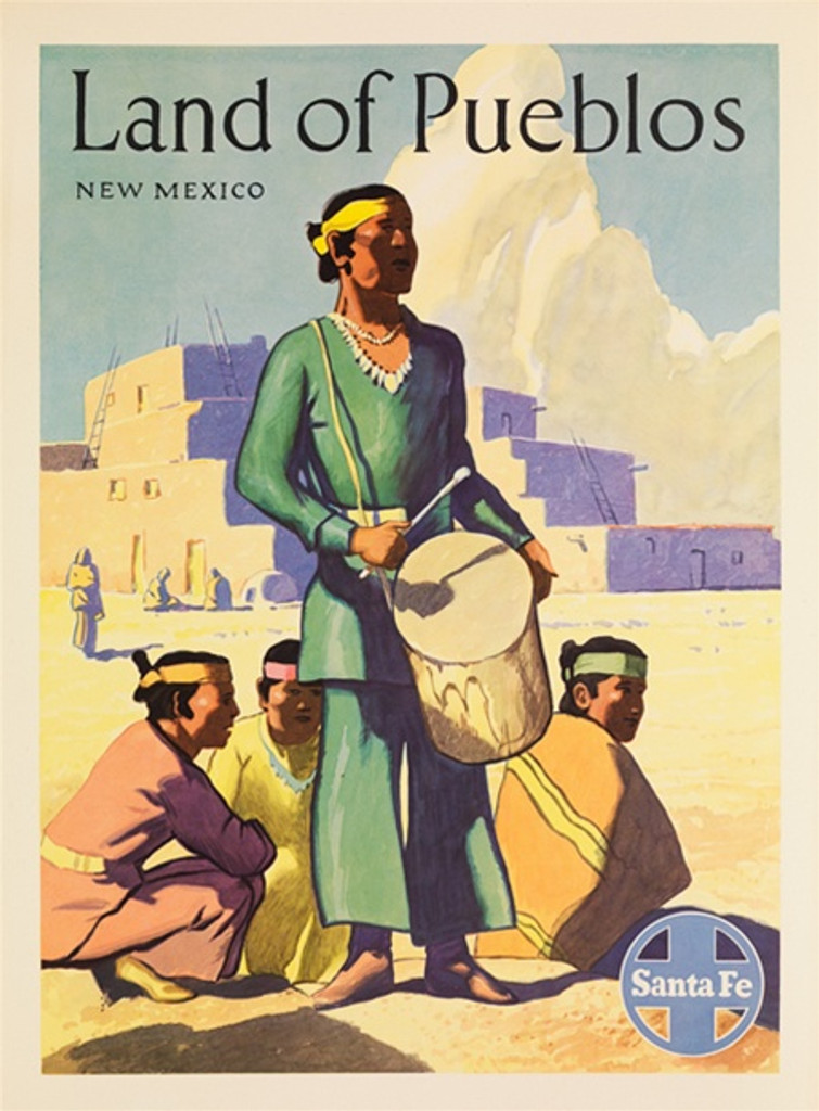 Santa Fe Railroad Land of Pueblos New Mexico American travel posters - Vintage Travel Posters Reproduction. Vintage railroad travel poster from 1949 - American Posters. Giclee Advertising Print. Posters of Santa Fe. Classic Posters