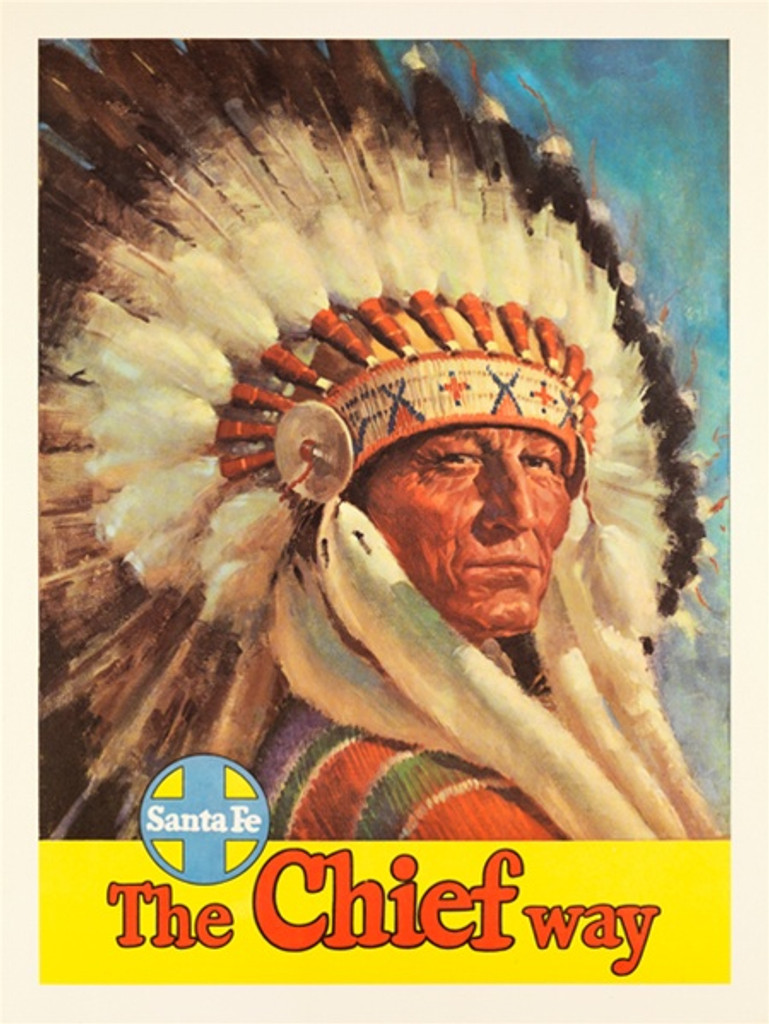 Santa Fe Railroad The Chief Way American travel posters - Vintage Travel Posters Reproduction. Vintage train ad travel posters - American Posters. Giclee Advertising Print. Posters of Santa Fe. Classic Posters