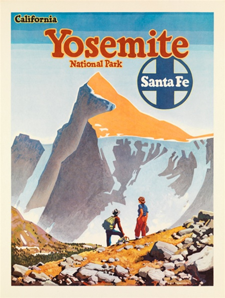 Santa Fe Railroad Yosemite California National Park American travel posters - Vintage Travel Posters Reproduction. Vintage railroad travel poster from 1949 by Don Perceval - American Posters. Giclee Advertising Print. Posters of Santa Fe. Classic Posters