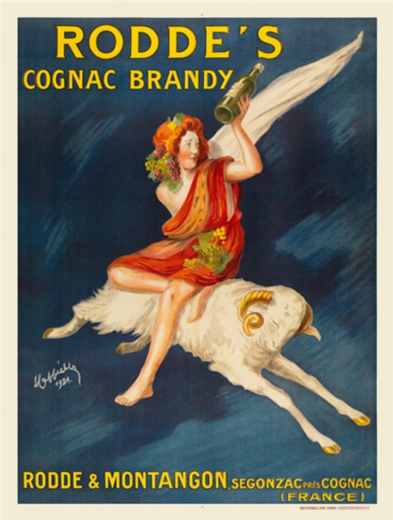 Roddes Cognac Brandy poster by Cappiello 1921 French - Beautiful Vintage Posters Reproductions. French cognac advertisement features a woman sitting on a sheep holding a bottle of brandy cognac, stunning blue background. Wine and spirits Giclee print