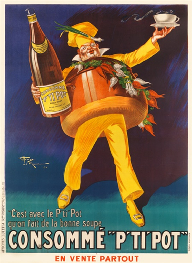 Consomme P'ti Pot French food poster by Henry Le Monnier 1926 France- Vintage Poster Reproductions. Giclee Advertising Prints Classic Poster