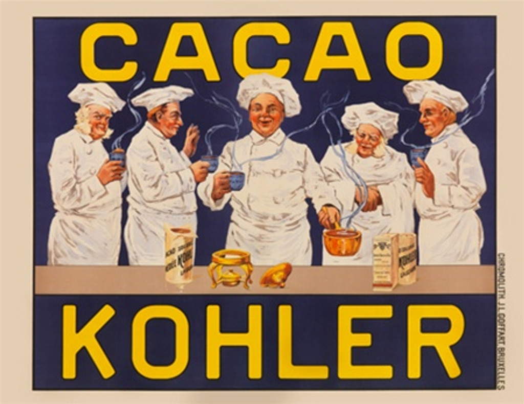 Cacao Kohler poster - Beautiful Vintage Posters Reproductions. This Belgium horizontal poster features tfive chefs drinking hot chocolate. Giclee advertising print. Classic Food Posters