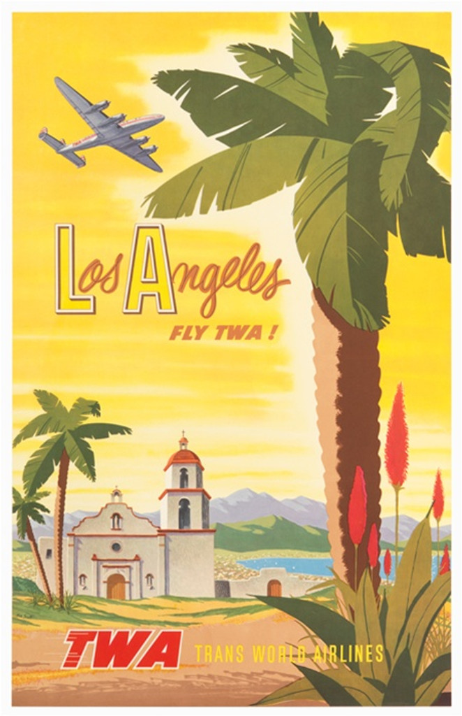 TWA posters. Los Angeles fly TWA by Bob Smith 1956 America USA - Vintage Poster Reproductions. American travel poster features old church mountains and lake view large palm tree with a plane flying through the yellow sky. Advertising Print. TWA Posters.