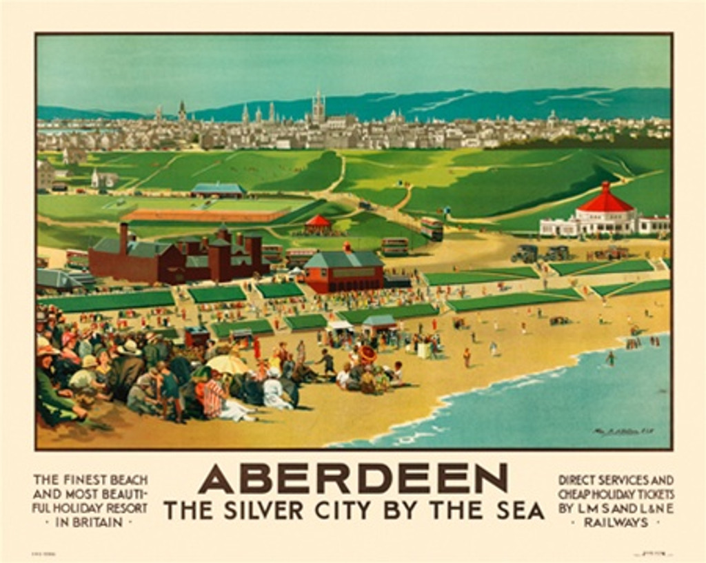 Aberdeen English travel poster - Beautiful Vintage Poster Reproductions. British railway horizontal travel poster features beautiful resort and stunning beach and city sky line. Giclee Advertising Print. Train posters - railways English travel posters.