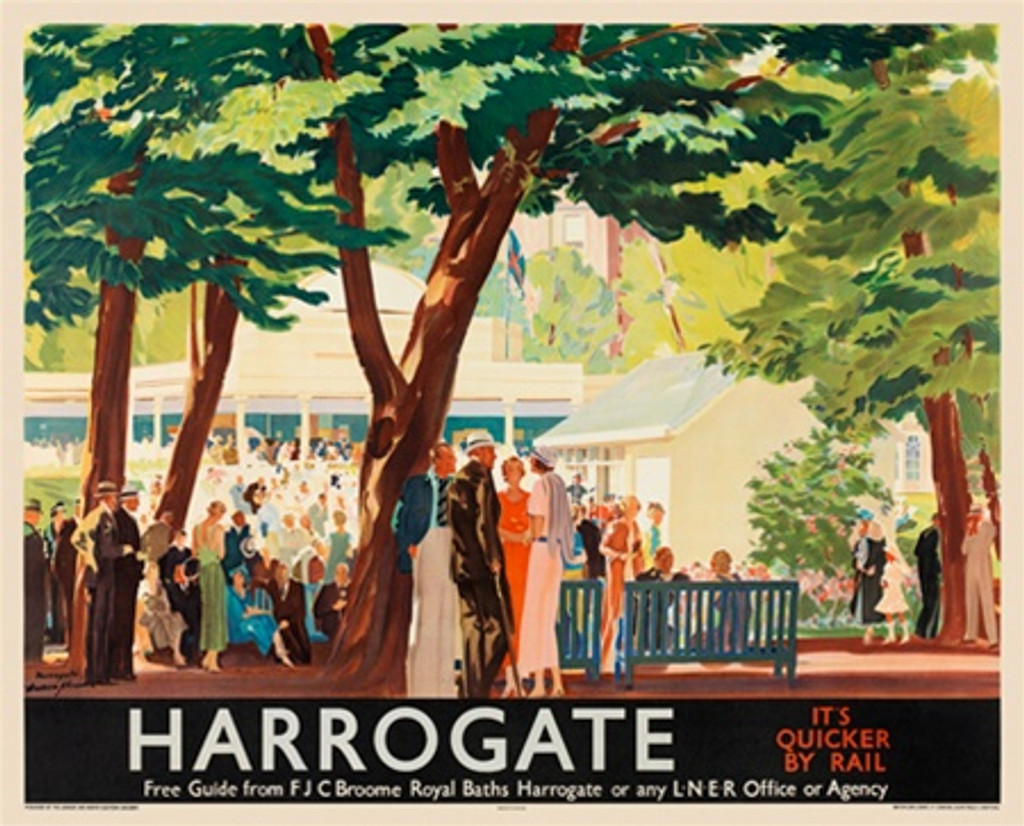 Harrogate British railway poster - Beautiful Vintage Poster Reproductions. British railway horizontal travel poster features beautiful resort and stunning beach and city sky line. Giclee Advertising Print. Train posters - railways English travel posters