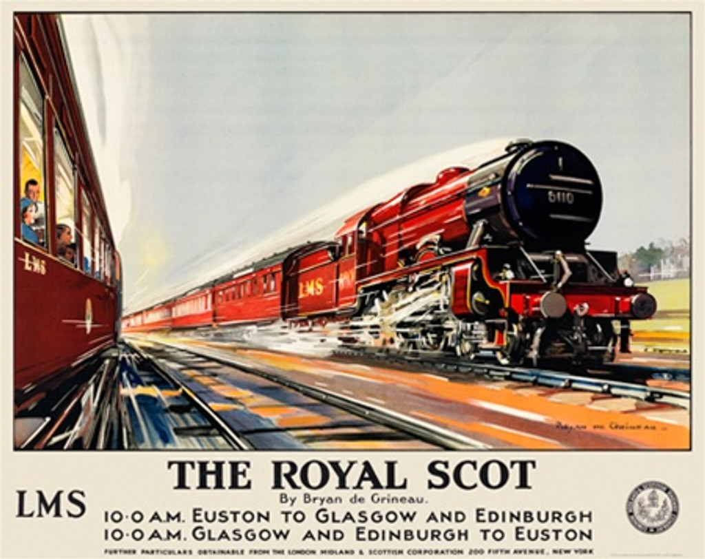 The Royal Scot LMS British railway poster - Beautiful Vintage Poster Reproductions. British railway horizontal travel posters. Giclee Advertising Print. Train posters - railways English travel