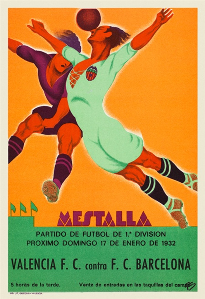 Mestalla soccer sports poster from 1932 Spain - Beautiful Vintage Posters Reproductions. Spanish soccer poster features two players jumping in mid-air to a soccer ball. Giclee Advertising Print. Classic Posters. Mestalla soccer poster