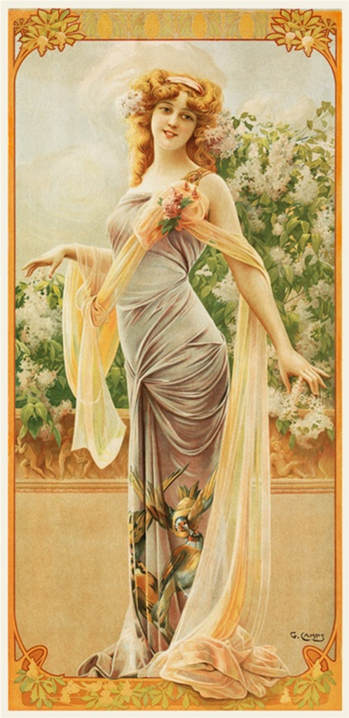 Lilac Allure by G Camps 1904 France - Beautiful Vintage Poster Reproductions. French turn of the century poster features a young woman with flowers in a gown with birds on it and flowing shawl. Giclee Advertising Print. Classic Poster