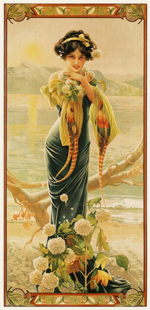 Evening Hydrangea by Gaspar Camps 1904 France - Beautiful Vintage Poster Reproductions. This vertical French turn of the century poster features a young woman with flowers in a gown with birds her sleeves. Giclee Advertising Print. Classic Poster