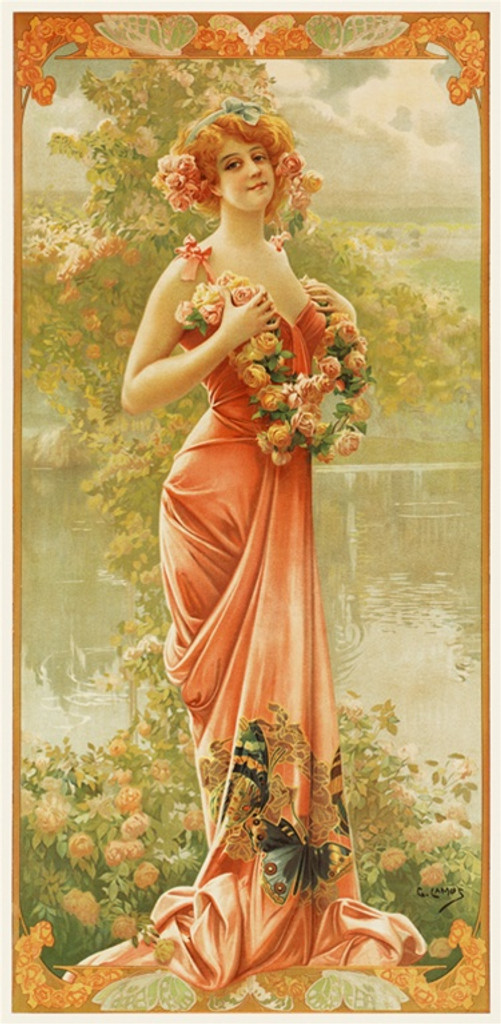 Enraptured Rose by Gaspar Camps 1904 France - Vintage Poster Reproductions. This vertical French turn of the century poster features a young woman with roses, in a gown with butterflies standing next to a pond. Giclee Advertising Prints. Classic Poster