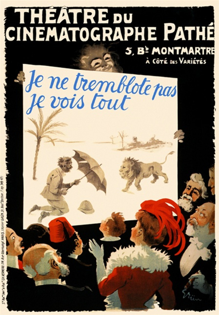 Theatre du cinematographe pathe poster by Grun - Vintage Posters Reproductions. This French theater poster features a crowd of well dress people looking up at a board with a man holding off a lion with umbrella. Giclee Advertising Prints. Classic Poste