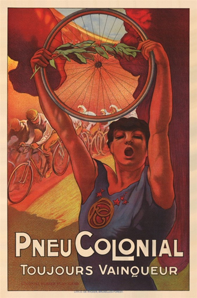 Pneu Colonial Belgium poster- Beautiful Vintage Posters Reproductions. This vertical Belgian poster features a person holding a tire and olive branch over her head in front of a group of bicycle racers. Giclee Advertising Print. Classic Posters.