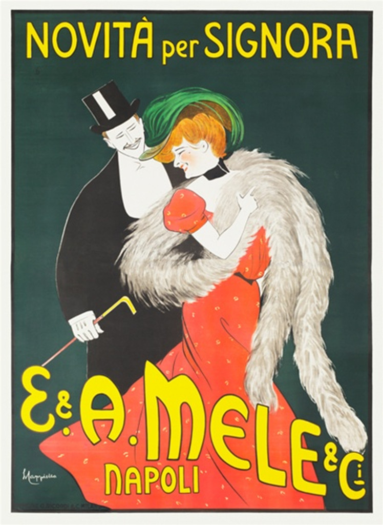 Mele Novita per Signora by Cappiello -Vintage Poster Reproduction. Poster advertising department store (new fashions for women) formally dress couple on rich green background, women in a red dress wrapped in a gray stole . Giclee advertising prints copy