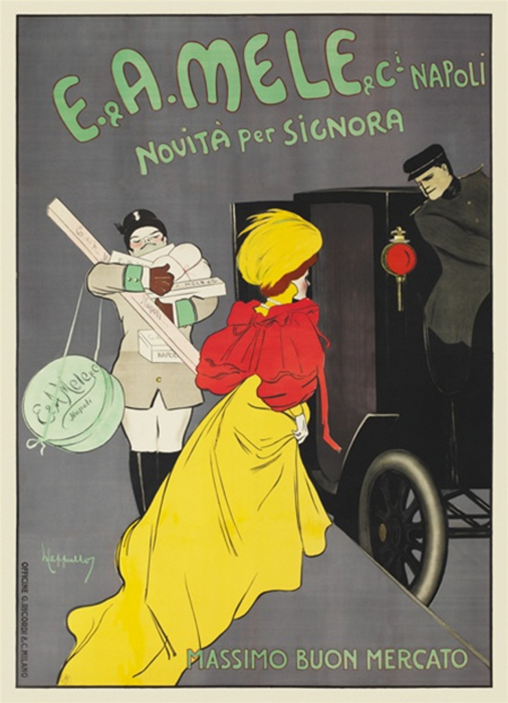 Mele Napoli Novita per Signora poster by Cappiello -Vintage Poster Reproduction. Poster advertising fashion, department store (new fashions for women) on a gray background woman in a yellow dress getting into a carriage . Giclee advertising print copy