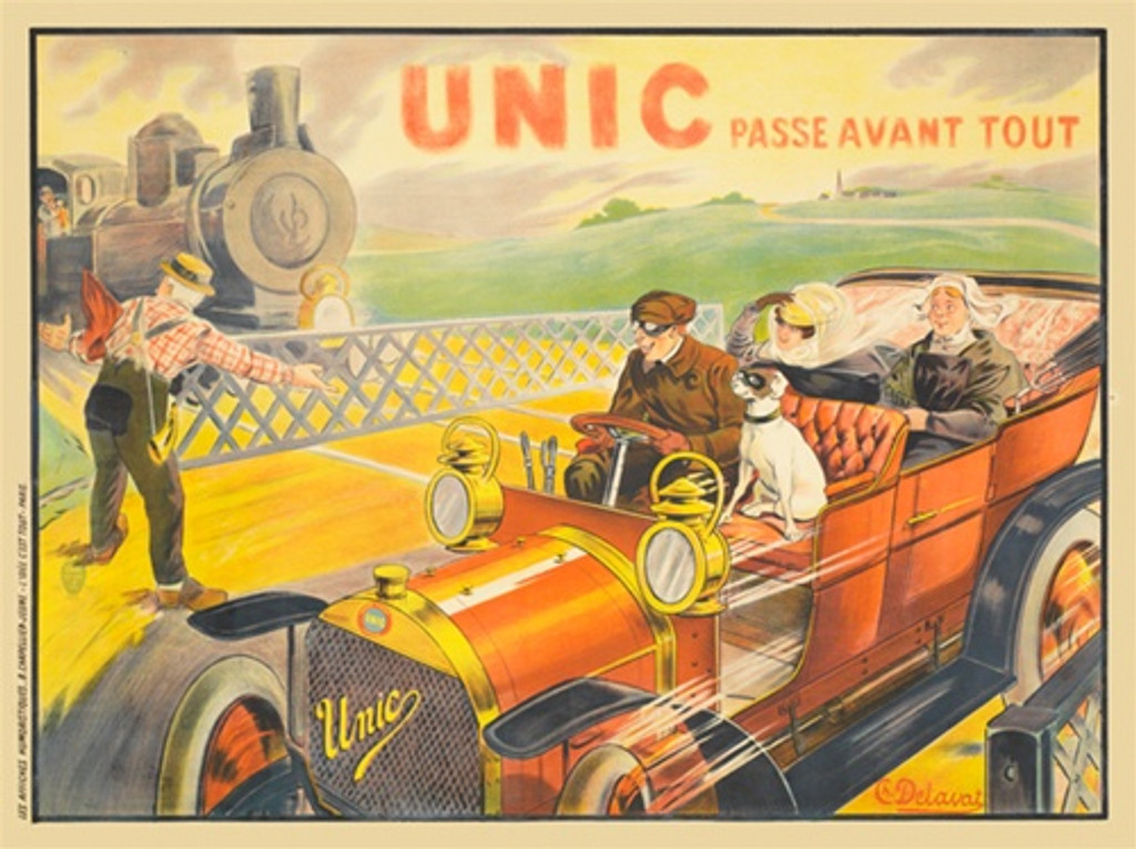 Unic by Charles Delavat France - Vintage Posters Reproductions. This horizontal poster features a car with a man, a dog and two women driving over the tracks while a train waits for them to pass. Giclee Advertising Print. Classic Poster