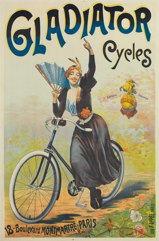 Gladiator Cycles poster - Vintage Posters Reproductions. French poster features a woman on a bicycle holding a blue fan pointing up with flowers around the path. Giclee Advertising Print. Classic Poster cycling ad.