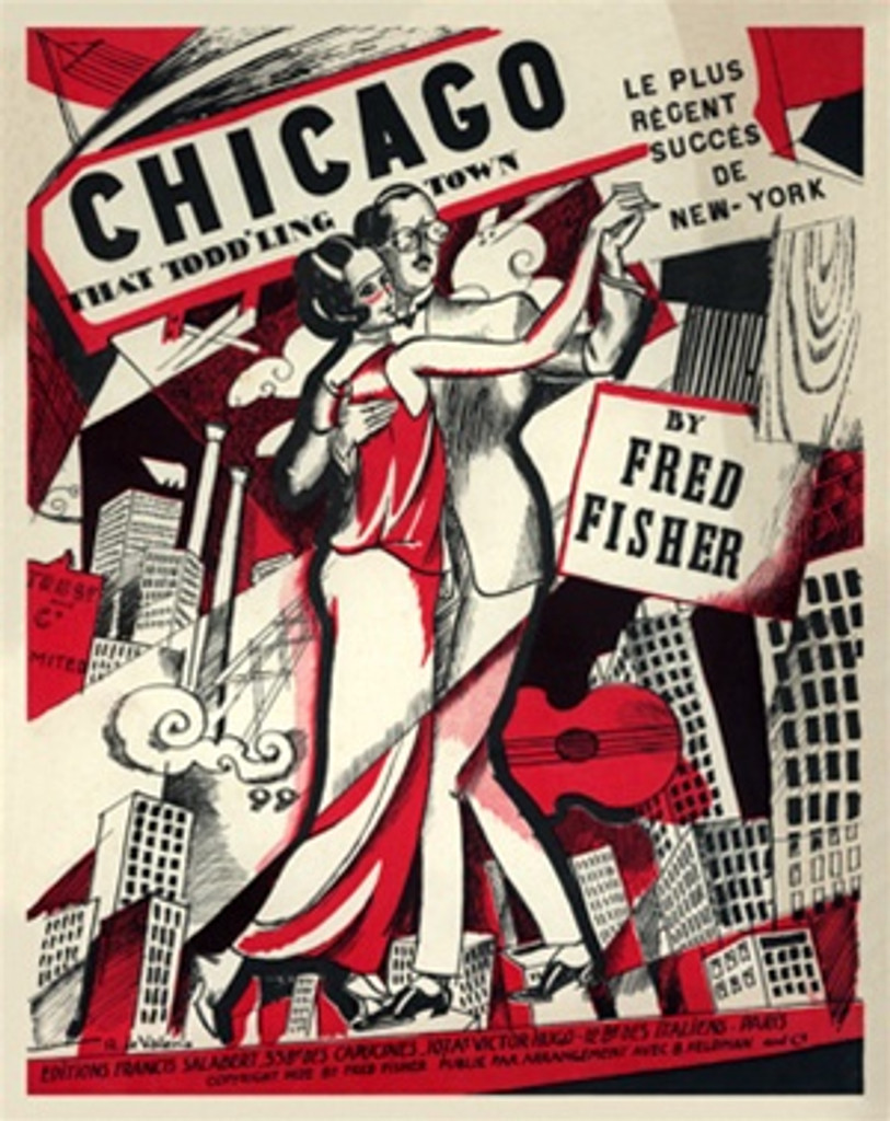 Chicago That Toddling Town by R de Valerio 1922 France - Beautiful Vintage Poster Reproductions. This vertical French poster features a couple dancing in front of a city skyline in red, black and white. Giclee Advertising Print. Classic Poster