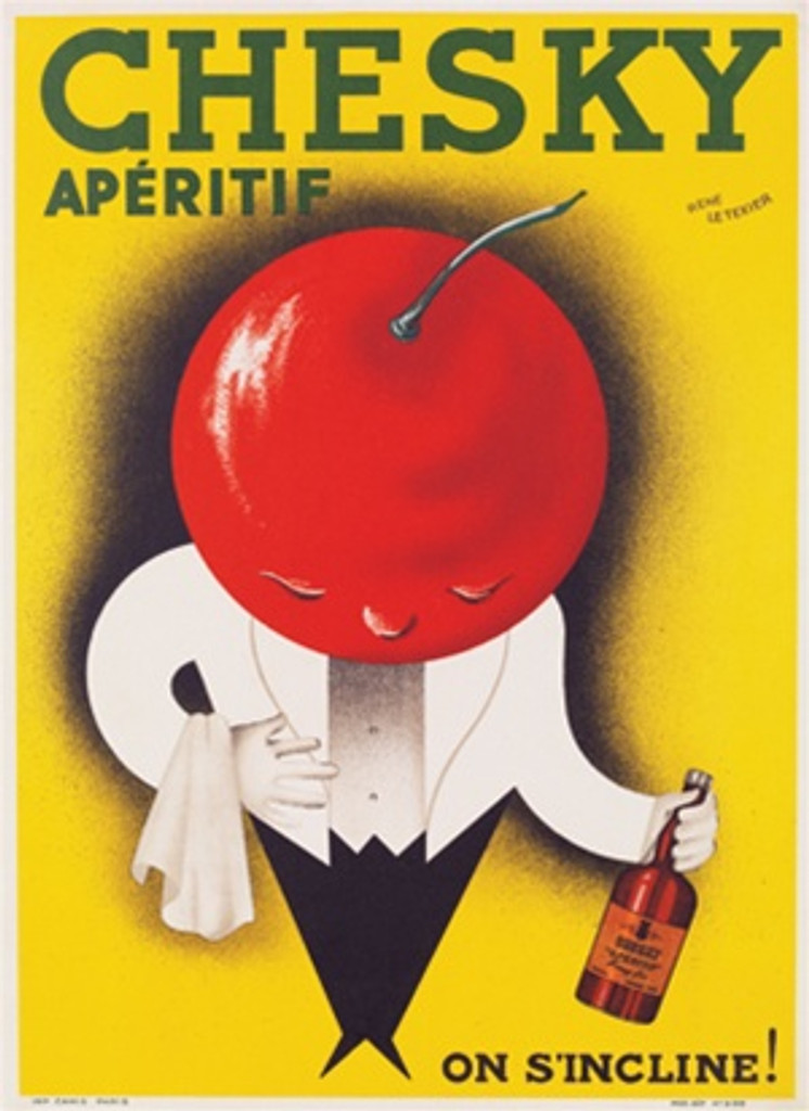 Chesky Aperitif by Rene Le Texier 1926 France - Beautiful Vintage Poster Reproductions. French poster features a waiter with a cherry red head bowing with a bottle on a yellow background. Giclee Advertising Print. Classic Poster
