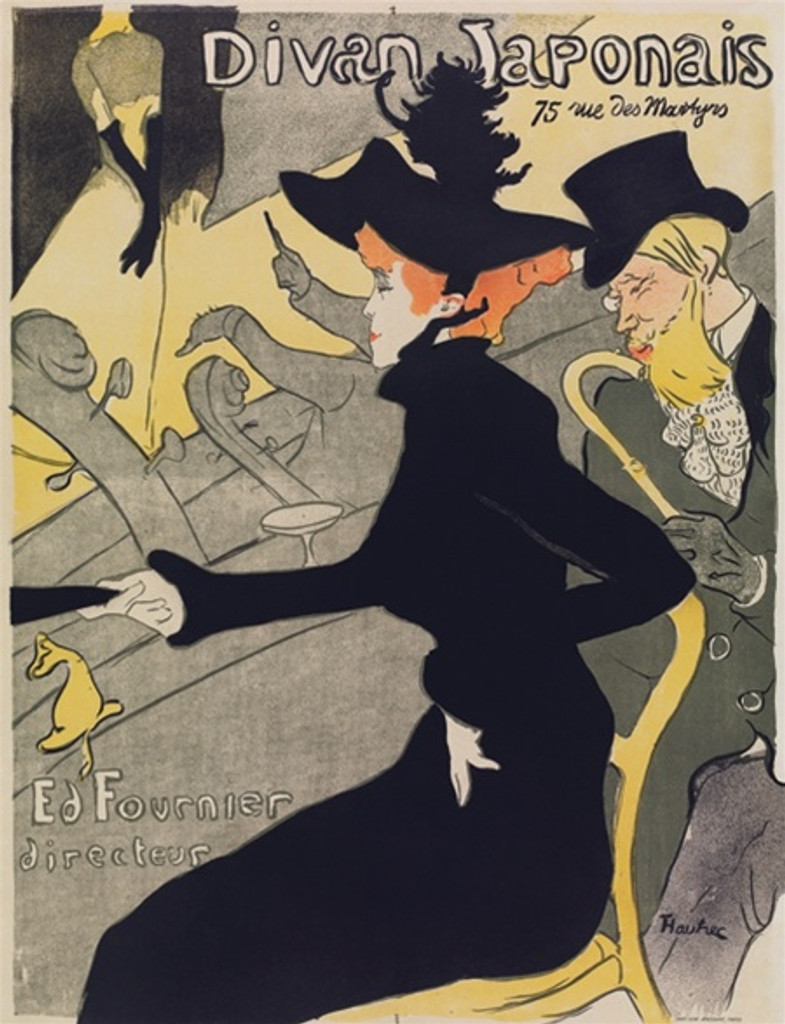 Divan Japonais poster by Toulouse Lautrec from 1892 France. Divan Japonais poster is advertising café-concerts Paris France. Woman in black dress Jane Avril and Edouard Dujardin in the foreground, with the singer Yvette Guilbert on stage.