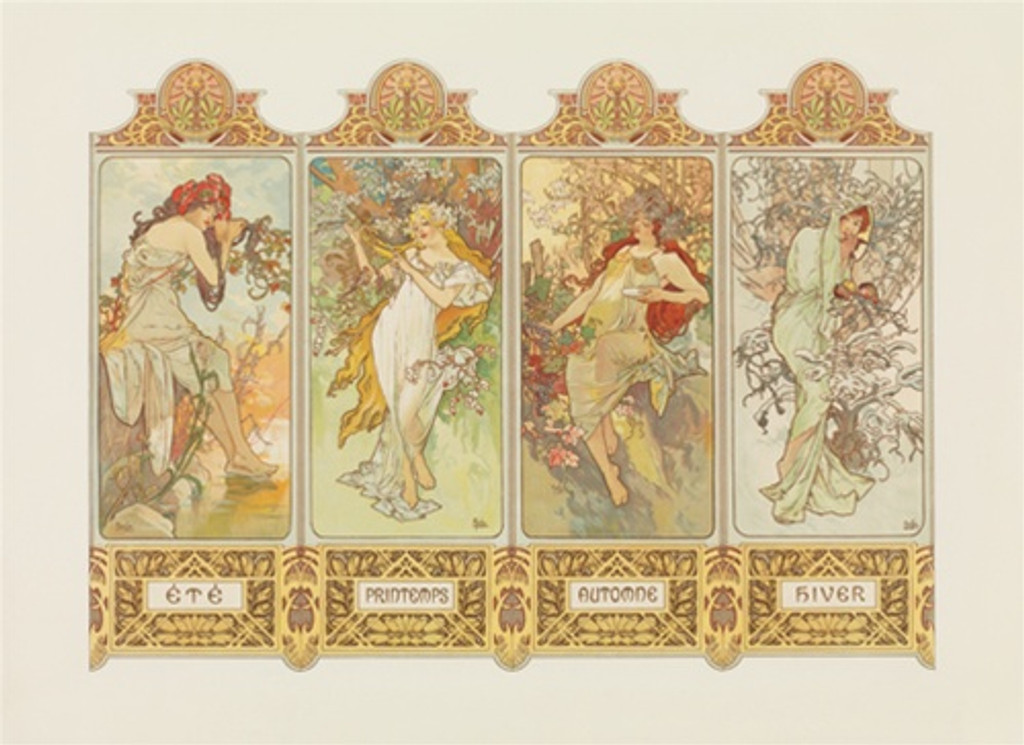 Four Seasons poster by Mucha - Vintage Posters Reproductions. Giclee Advertising Print. Classic Posters. Shop our large selection of art nouveau posters and deco posters.