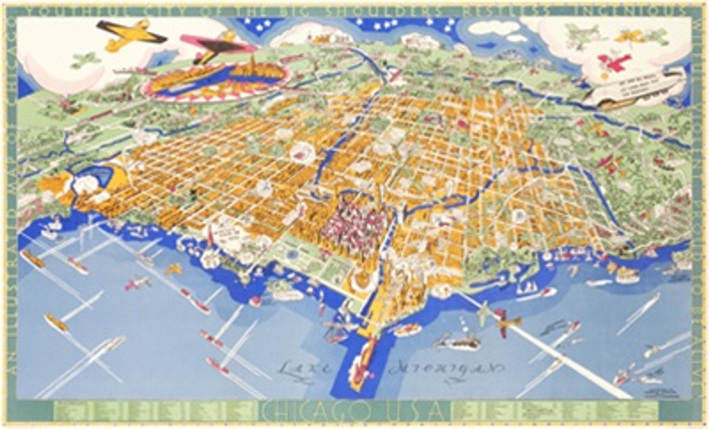 Chicago Map poster from 1931 America - Vintage Poster Reproduction. This American travel poster features a map of Chicago's downtown featuring it's landmarks and the 1933 Worlds Fair. Giclee Advertising Print. Classic Posters