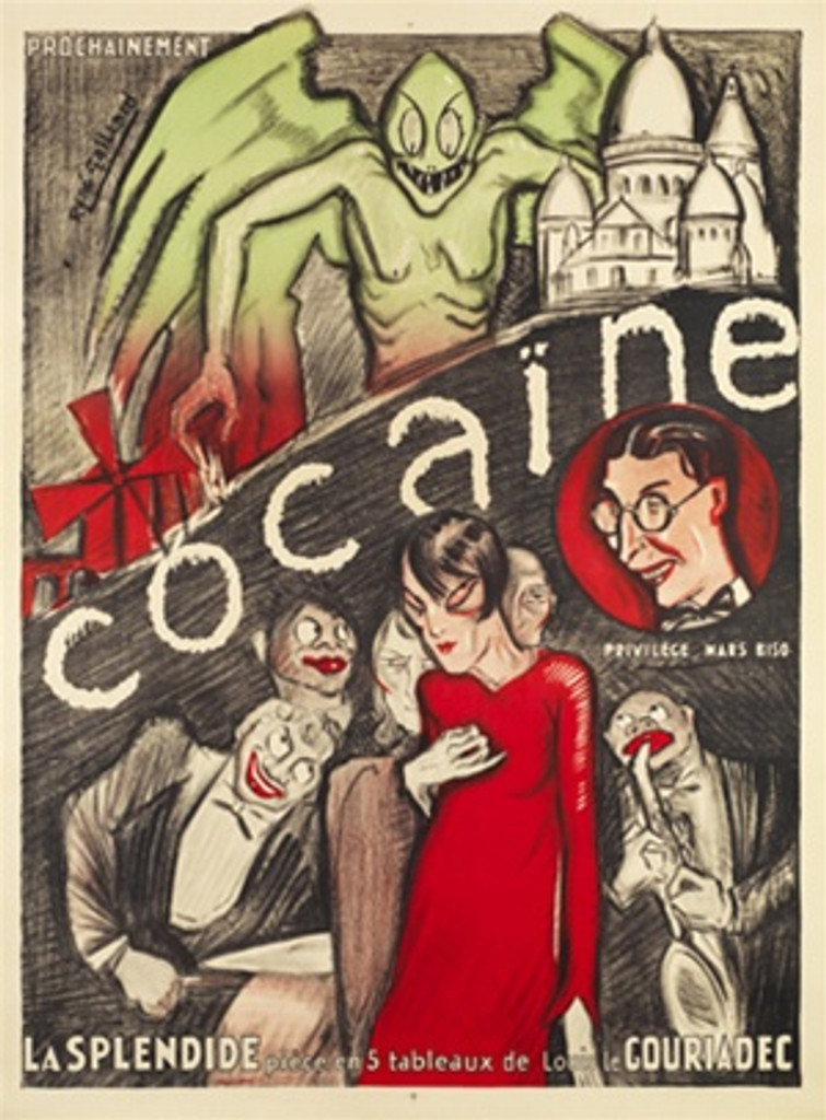 """Cocaine by Rene Gaillard 1926 France - Beautiful Vintage Posters Reproductions. This vertical French poster is advertising the five act play """"""""La Splendide"""""""" by Louis Gouriadec featuring a green monster, Edith Piaf, Harpo Marx and Al Jolson. Classic Posters"""
